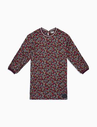 Calvin Klein Girls Varsity Flower Long Sleeve Dress