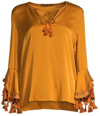 Kobi Halperin Rydel Pom-Pom Stretch Silk Blouse