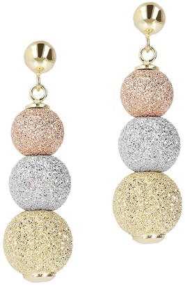 Arte d'Oro Tri-Color Pave' Multi-Bead Earrings,18K Gold