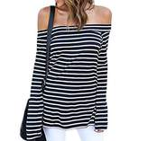 ZJCT Women's Off Shoulder Belled Long Sleeves Shirts Casual Juniors Top M