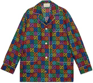 Gucci GG Psychedelic print silk shirt