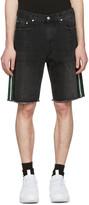 MSGM Black Side Stripes Denim Shorts