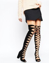 Asos KASSIN Lace Up Over The Knee Boots