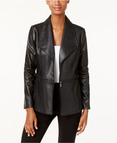 Alfani Petite Faux-Leather Draped Jacket, Only at Macy's