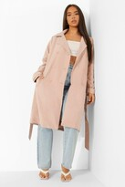Thumbnail for your product : boohoo Longline Belted Mac