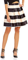 Gianni Bini Aiden Striped Satin Fit-And-Flare Circle Skirt