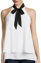 BELLE + SKY Sleeveless Layered Tie-Front Top