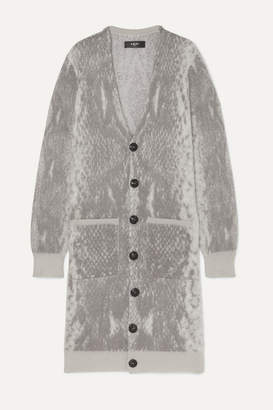 Amiri Oversized Snake-intarsia Wool And Cashmere-blend Cardigan - Gray
