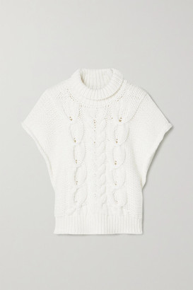 IRO Silopo Cable-knit Cotton-blend Turtleneck Sweater - Ivory