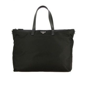 Prada Tote Bag In Nylon And Leather With Triangular Logo