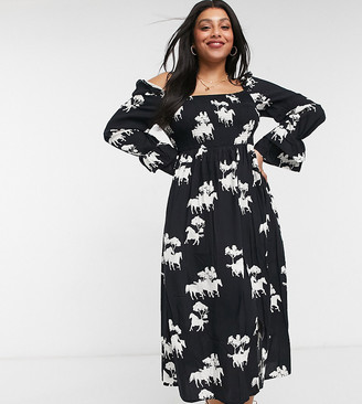 Never Fully Dressed Plus square neck smock midi dress in horse print