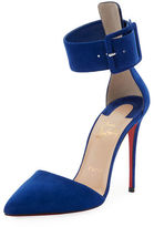 Christian Louboutin Harler Suede Ankle-Strap Red Sole Pump