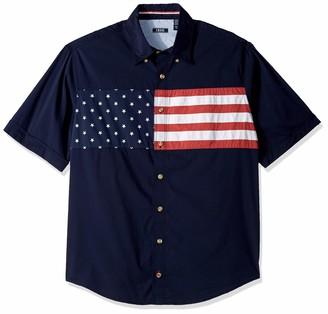 Izod Men's Big Outpost Short Sleeve Button Down Americana Shirt