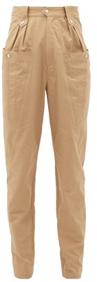 Isabel Marant Yerris High-rise Slubbed-cotton Trousers - Womens - Camel