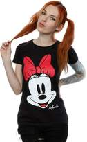 Disney Official Womens Minnie Mouse Distressed Design Fitted T-Shirt