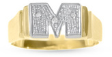 Zales 10K Gold Diamond Accent Block Initial Ring (1 Letter)