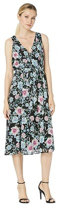 Karen Kane Faux Wrap Midi Dress (Floral Print) Women's Clothing