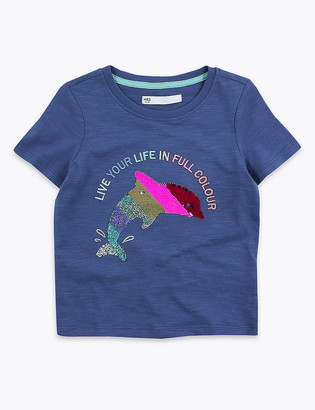 Marks and Spencer Cotton Reversible Sequin Dolphin T-Shirt (2-7 Yrs)