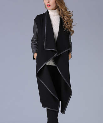 Enzo Fleur Women's Car Coats Black - Black Faux Leather Draped Coat - Women
