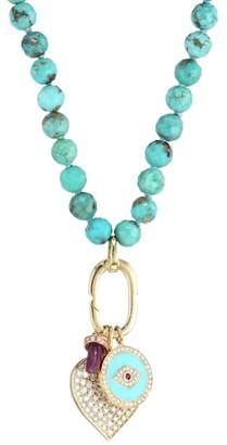 Sydney Evan Turquoise Bead, Diamond & Ruby Charm Necklace