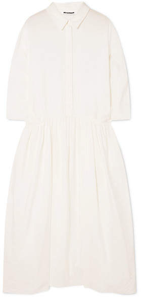 Jil Sander Crinkled Silk-blend Midi Dress - White