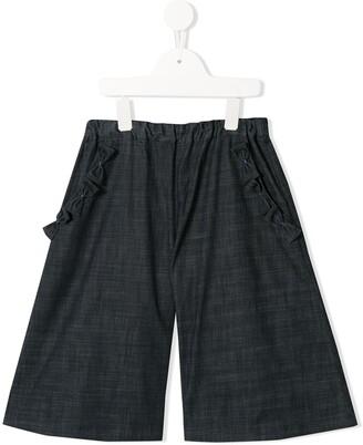 Familiar Bow-Embellished Chambray Shorts