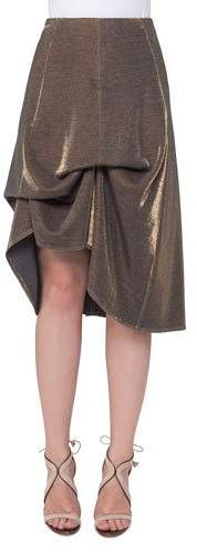 Akris Metallic Jersey Bustle A-Line Skirt, Gold