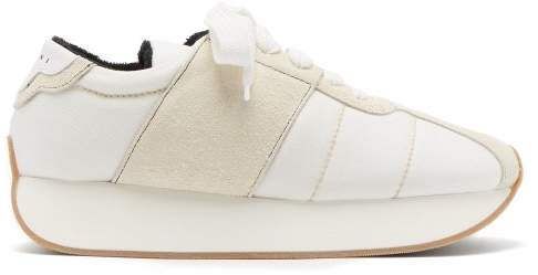 Marni Suede Panelled Canvas Low Top Trainers - Mens - White