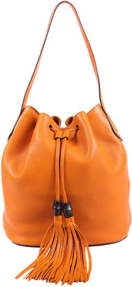 Gucci Orange Leather Lady Bamboo Tassel Bucket Bag