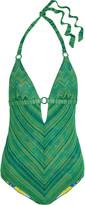 Missoni Reversible metallic crochet-knit halterneck swimsuit