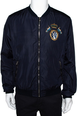 Dolce & Gabbana Navy Blue Synthetic & Leather Trim Detail Bomber Jacket XXL