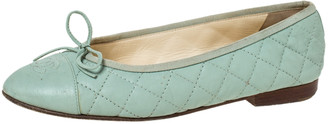 Chanel Green Quilted Leather CC Bow Ballet Flats Size 38