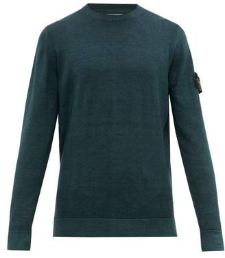 Stone Island Logo Patch Double Knitted Wool Sweater - Mens - Dark Green