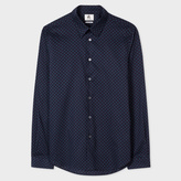 Paul Smith Men's Tailored-Fit Navy And Teal 'Split Dot' Print Shirt
