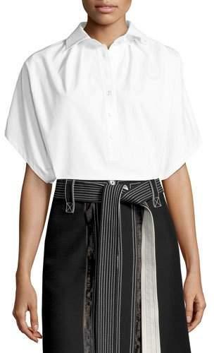 Derek Lam Oversized Short-Sleeve Shirt, White