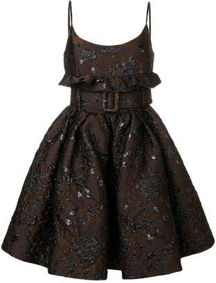 Prada Floral Embroidered Belted Dress