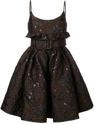 Prada floral embroidered belted dress