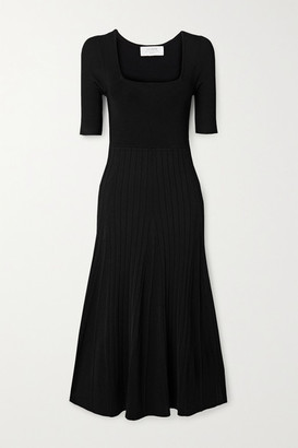 La Ligne Ribbed Stretch-knit Midi Dress - Black