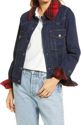 Faherty Andie Buffalo Plaid Fleece Detail Denim Jacket