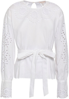 Rebecca Taylor Broderie Anglaise Linen And Cotton-blend Blouse