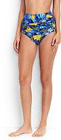 Lands' End Women's Ruched High Waist Bikini Bottoms-Black