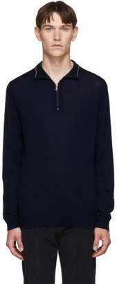 Paul Smith Navy Zip Neck Sweater