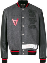 Versace embroidered bomber jacket - men - Cotton/Leather/Polyamide/Virgin Wool - 48