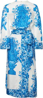 Valentino Belted Grace-Print Twill Midi Dress