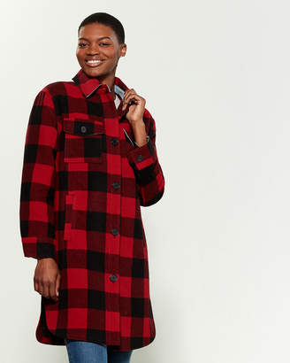 AVEC LES FILLES Checkered Shirt Coat