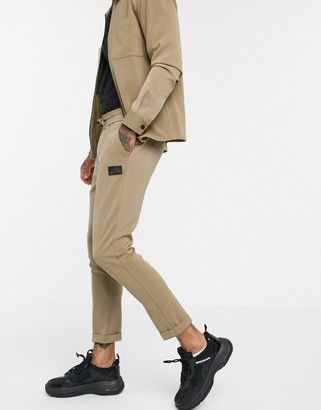 Couture The Club smart ribbed roll hem jogger in dark stone-Beige