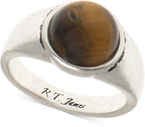 R.T. James Men's Silver-Tone Brown Stone Ring