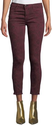 J Brand 835 Mid-Rise Cropped Snake-Print Skinny Jeans
