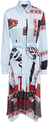 Cédric Charlier Printed Satin-twill Midi Shirt Dress