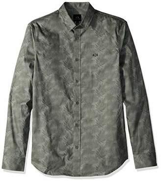 Armani Exchange A X Men's Patterned Long-Sleeve Cotton Button Down
